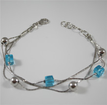 Bracciale In Argento 925 Rodiato A Tre File Con Cristalli Blu Quadrati E Sfere - $64.88