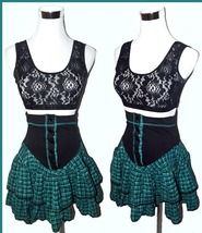VTG 80s Plaid Gothic LOLITA Tiered Lace High Waist Punk STEAMPUNK Mini S... - $20.00