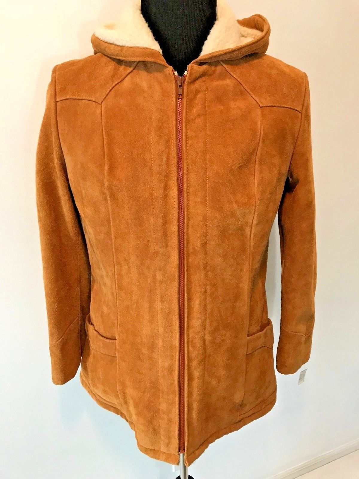 d9ad6a10fcb5d S l1600. S l1600. Previous. Vintage JCPenney Cowhide Suede Sherpa Lined  Hooded Jacket Coat NWT size ...