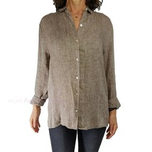 J JILL XL* 1X Fit Love Linen Essential Shirt Long Sleeve Brown Chambray ... - $27.72