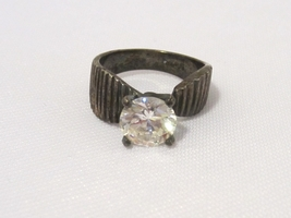 Vintage Sterling Silver Cubic Zirconia High Setting Ring Size 7.25 - $25.00