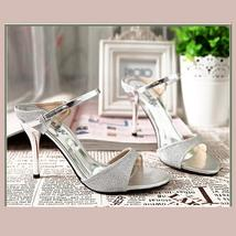 Silver Open Toe Italian Ankle Strap Low Heel Stiletto Rhinestone Leather Sandals