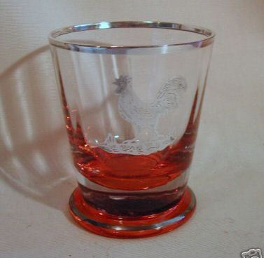 Silver Resist Rooster Optic Rib Amber Base Tumbler