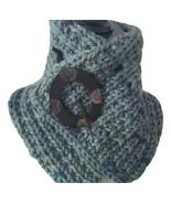 Green flecked neck warmer, soft bulky merino wool, reversible, coconut b... - $34.00+