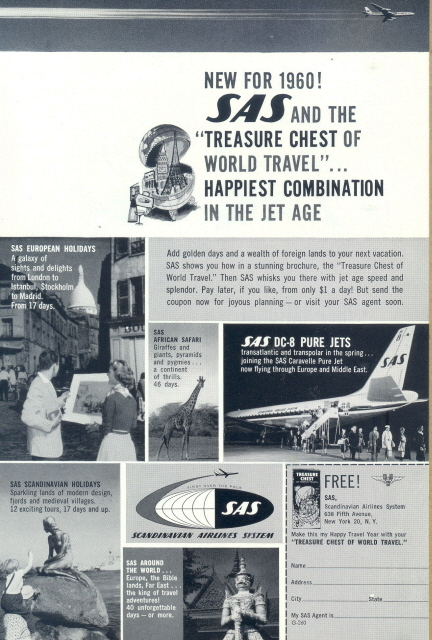 1960 SAS Scandinavian Airlines System holidays print ad