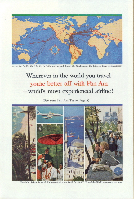 1962 Pan AM Airlines world atlas air route print ad