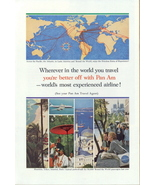 1962 Pan AM Airlines world atlas air route print ad - $10.00