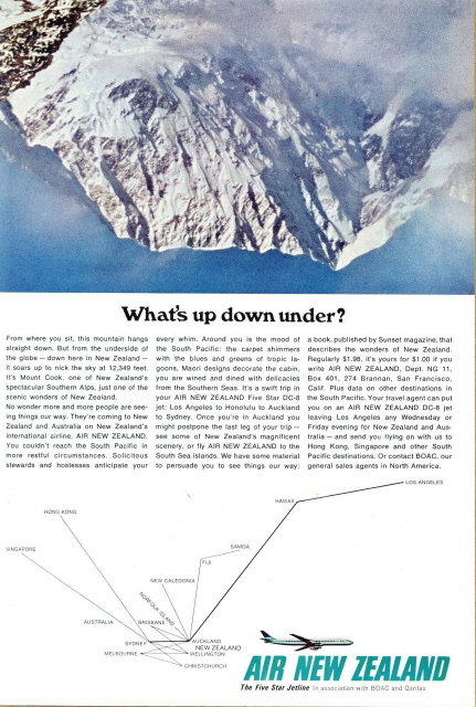 1966 Air NZ New Zealand Airline Air route print ad