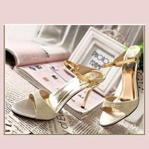 Gold Open Toe Italian Ankle Strap Low Heel Stiletto Rhinestone Leather Sandals