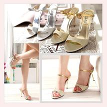 Gold Open Toe Italian Ankle Strap Low Heel Stiletto Rhinestone Leather Sandals image 2