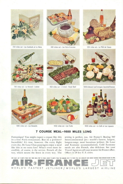 1967 Air France in-flight meal food desserts print ad