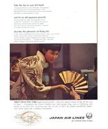1967 JAL Japan Airlines kimono dress lady fan print ad - $10.00