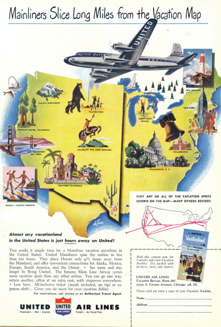 1958 United Airlines Vacationland Vacation Map print ad