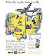 1958 United Airlines Vacationland Vacation Map print ad - $10.00