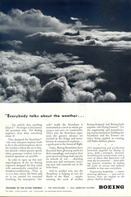 1958 Boeing Stratoliner aircraft flying above clouds print a