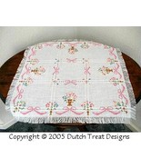 Flowers and Bows  Tabletopper cross stitch chart Dutch Treat Designs - $7.00