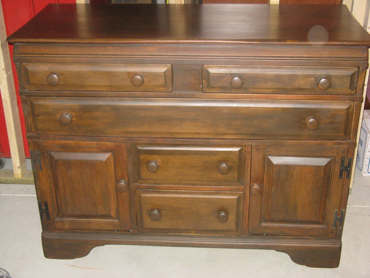 Vintage Solid Maple Bureau/Chest Of Drawers, Dark Stain