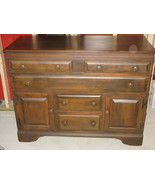 Vintage Solid Maple Bureau/Chest Of Drawers, Dark Stain - $295.00