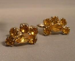 Coro Yellow Rhinestone Screw Back Earrings - $7.00