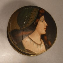 Cardboard Box with Lithographed Lid of Renaissance Lady - $12.00