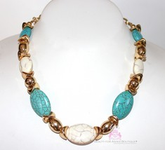 Womens Chunky Natural Faux Stone Faux Turquoise Gold Accents Beaded Neck... - $7.93