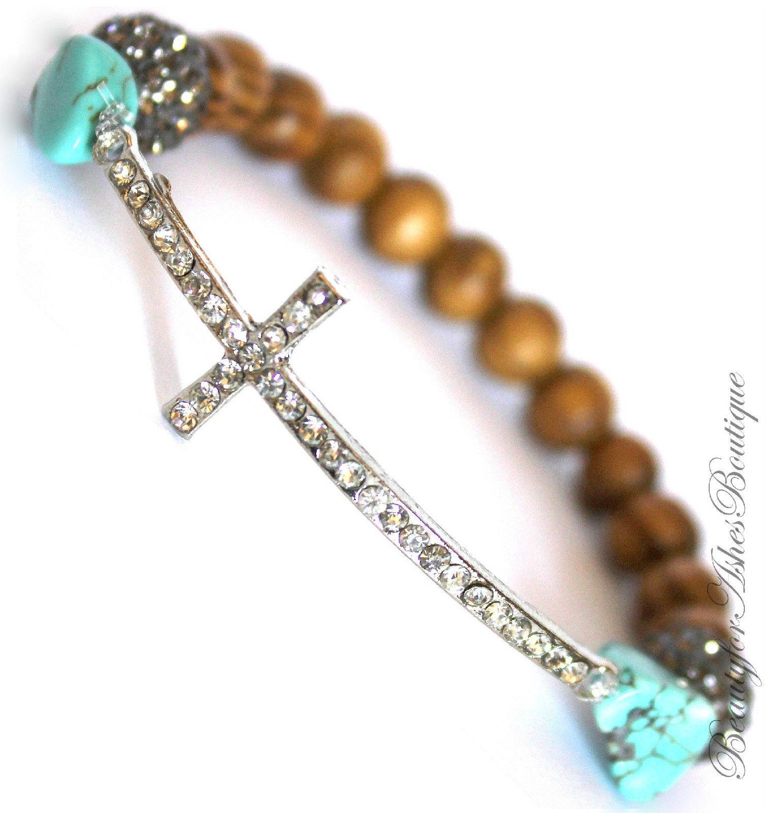 Silver Plated Divine Destiny Crystal Prayer Wood Bead Cross Stretch Bracelet