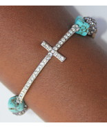 Silver Plated Divine Destiny Crystal Prayer Wood Bead Cross Stretch Brac... - $17.00