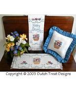 3 For Spring cross stitch chart Dutch Treat Designs - $8.00
