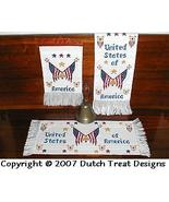 3 For America cross stitch chart Dutch Treat Designs - $8.00
