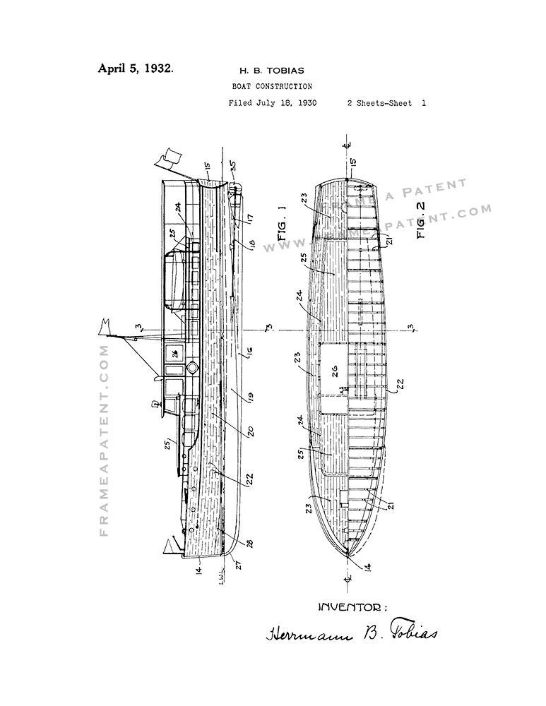 Primary image for Boat Construction Patent Print - White