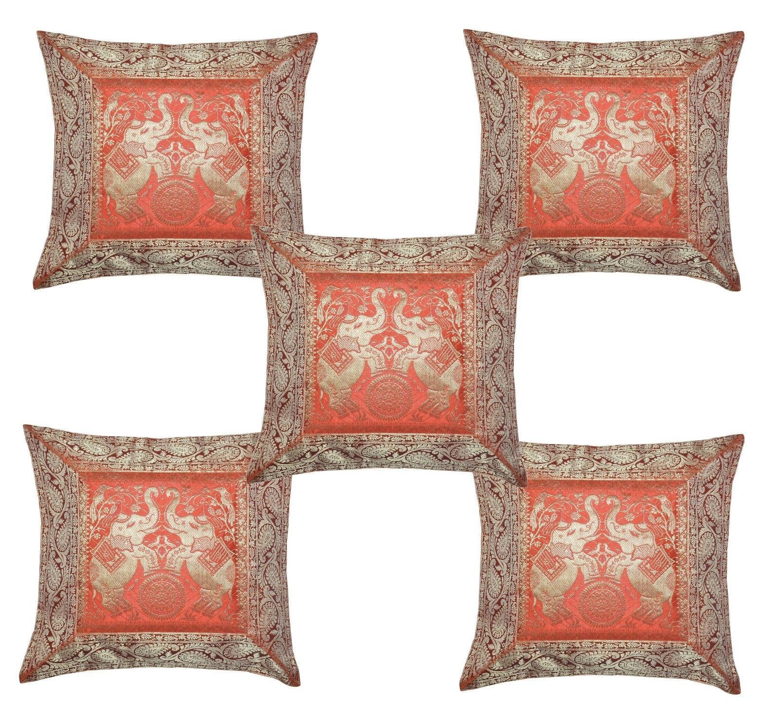 Http Www Bonanzamarketplace Ca Listings 16 Traditional Indian Home Decor Banarsi Brocade Silk Cushion Pillow Cover 5pcs 154023589