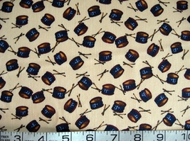 1/2 yd music/drums/Americana on tan quilt fabric -free shipping