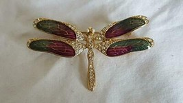 "2.75""VINTAGE SIGNED MONET DRAGONFLY ENAMELED FAUX DIAMOND FASHION BROOCH... - $13.36"
