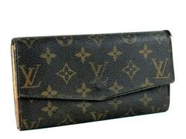 Auth LOUIS VUITTON Monogram Canvas Leather Bifold Envelope Long Wallet T... - $137.61