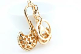 Gold Swan Bird Keychain Crystal Charm Animal Purse Gift Cute #MCK11 - $18.17