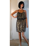 NWT ADRIANNA PAPELL Bead Gold & Black Sequin Halter Dress Sz 6 (MAKE AN ... - $170.78