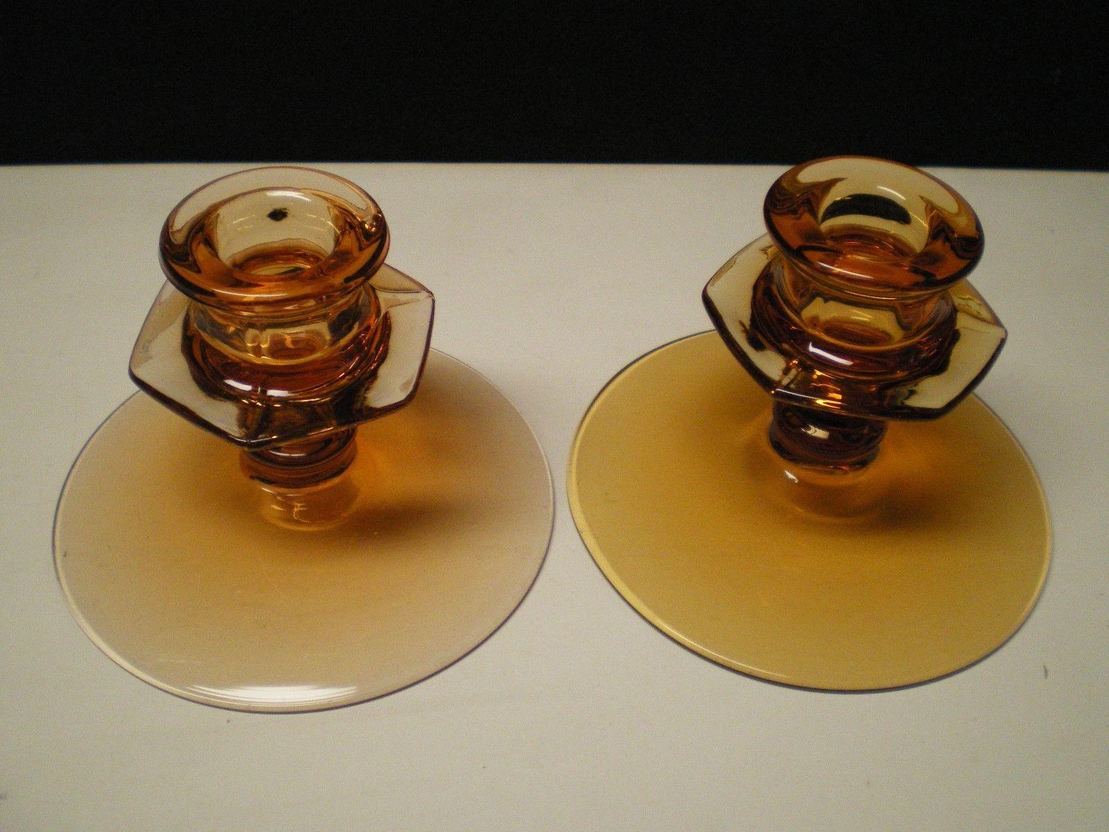 NICE PAIR OF FOSTORIA FAIRFAX AMBER SHORT CANDLES - $9.95