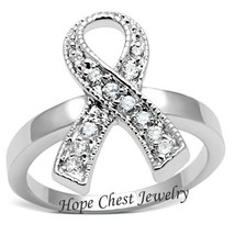WOMEN'S SILVER TONE BREAST CANCER AWARENESS WHITE CZ RIBBON RING SIZE 5,... - $14.49