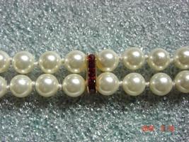 Swarovski Cream Pearl Bracelet - Double Stranded Bracelet with Ruby acce... - $29.99