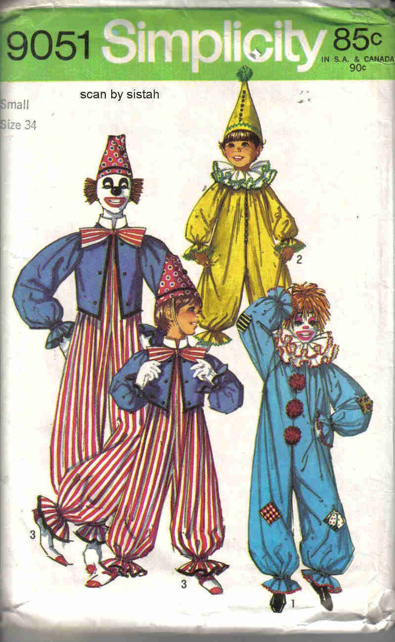 Simplicity 9051 Pattern Clown adult S small  man woman costume vintage