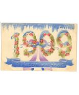 Victorian 1909 Happy New Year greeting postcard vintage embossed air bru... - $7.50