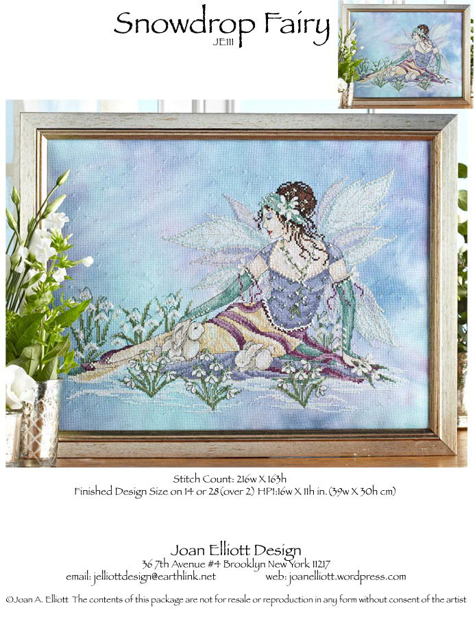 Snow Drop Fairy JE111 cross stitch chart Joan Elliott Designs