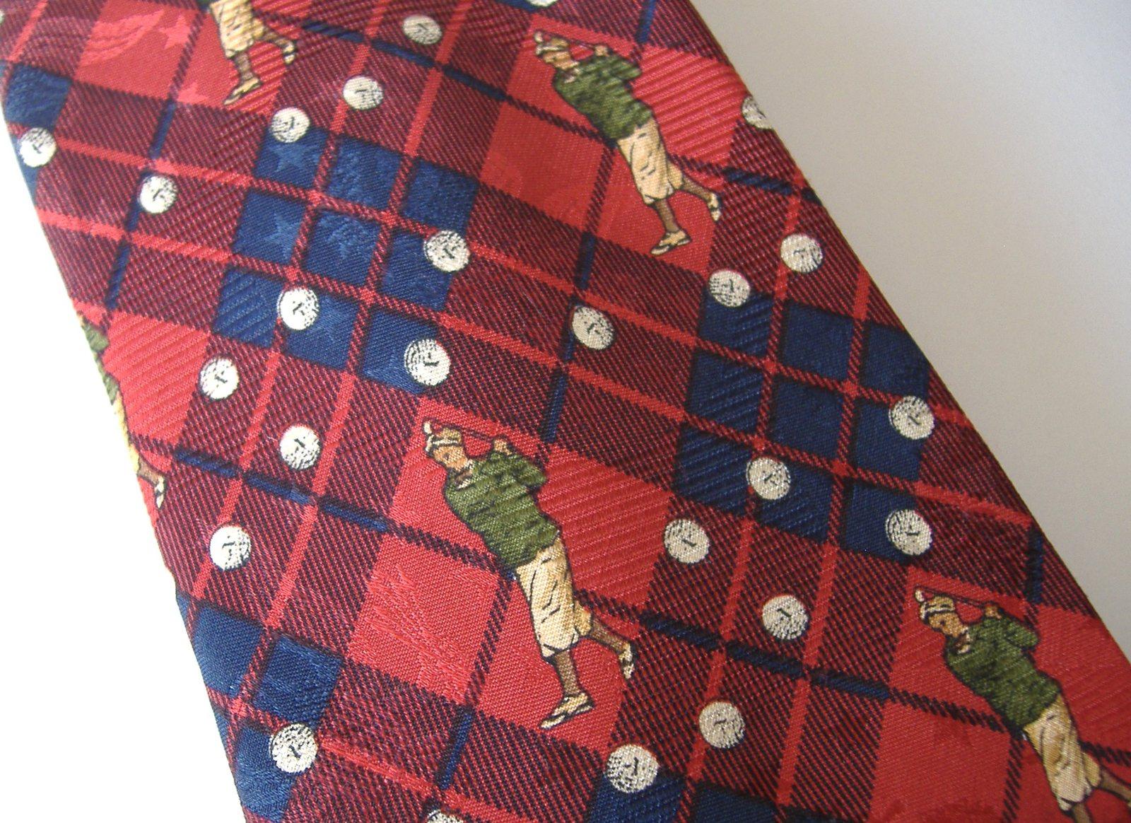 Robert Talbott Diablo Scotch Club Necktie Golfer Golf Balls Silk Plaid Red Green