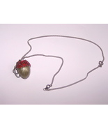 Egg Jewelry, Red Button Quail Egg, Acorn Pendant, Swarovski Crystals - $20.00