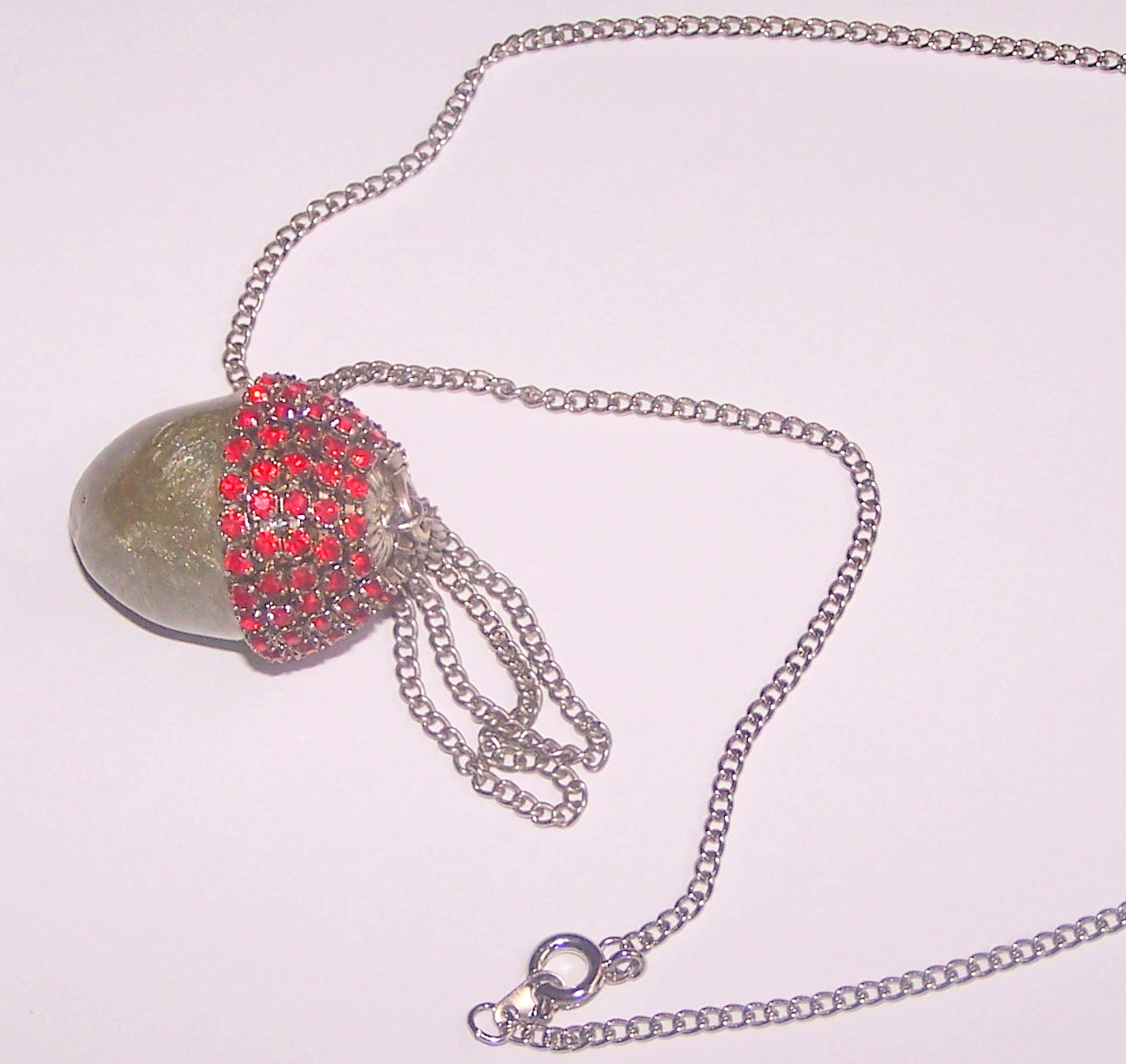 Egg Jewelry, Red Button Quail Egg, Acorn Pendant, Swarovski Crystals