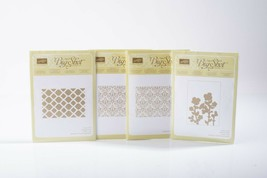Lot 4 Stampin Up Textured Impressions Embossing Folders Brocade Mosaic Meadow - $39.59