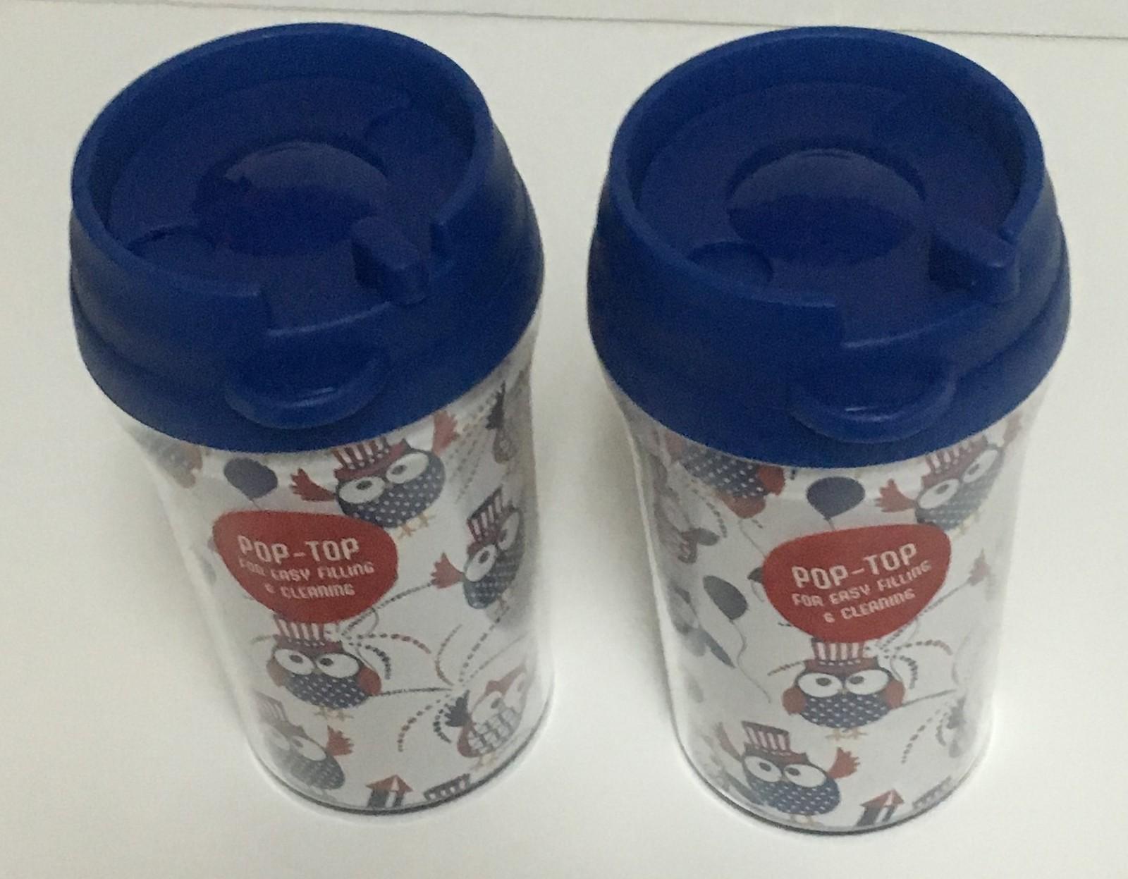 Patriotic Owl Design 10 Oz Travel Cups Pop Top Lot of 2