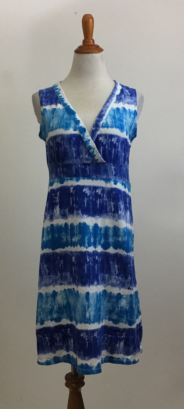 Calvin Klein Jeans Sleeveless Casual Watercolor Surplice Dress sz Small