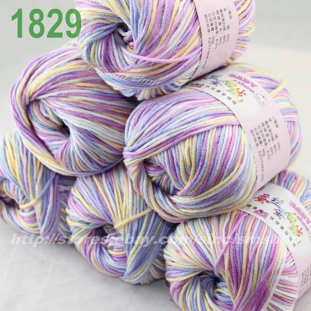 Lot of  6 x 50g balls Cashmere Silk velvet Children Yarn White blue Violet  1829