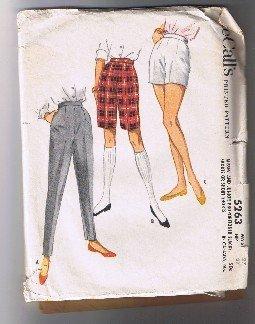 """Vintage McCall's 5263 - Slacks, Bermuda Shorts, Short Shorts - Waist 27"""" - Cut"""